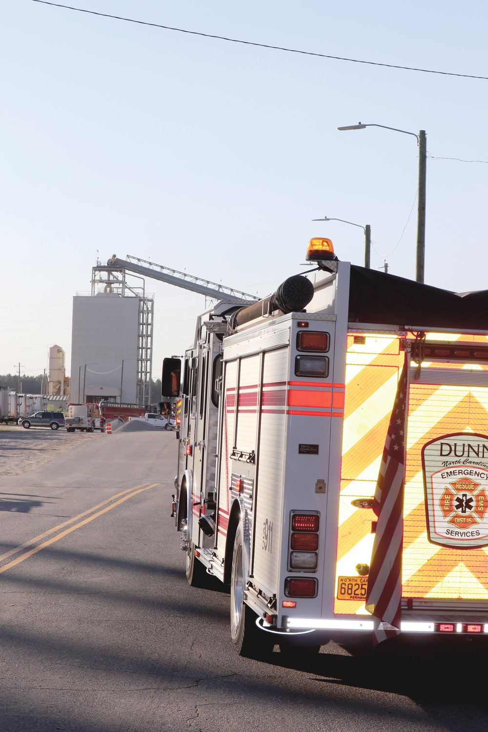Dunn Emergency Services was one of several local fire and rescue crews assisting with the large Enviva Pellet Plant fire Friday.
