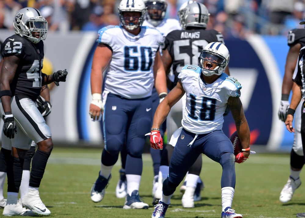 Titans wide receiver Rishard Matthews (18) during the first half of the Oakland Raiders at Tennessee Titans NFL football game on Sept. 10, 2017, at Nissan Stadium in Nashville, Tenn.