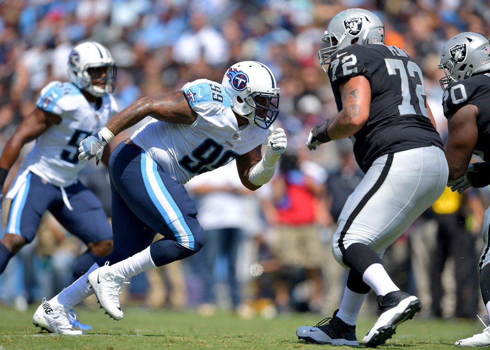 Titans defensive end Jurrell Casey (99) jumps from the line of scrimmage in the first half of the Oakland Raiders at Tennessee Titans NFL football game on Sept. 10, 2017, at Nissan Stadium in Nashville, Tenn.