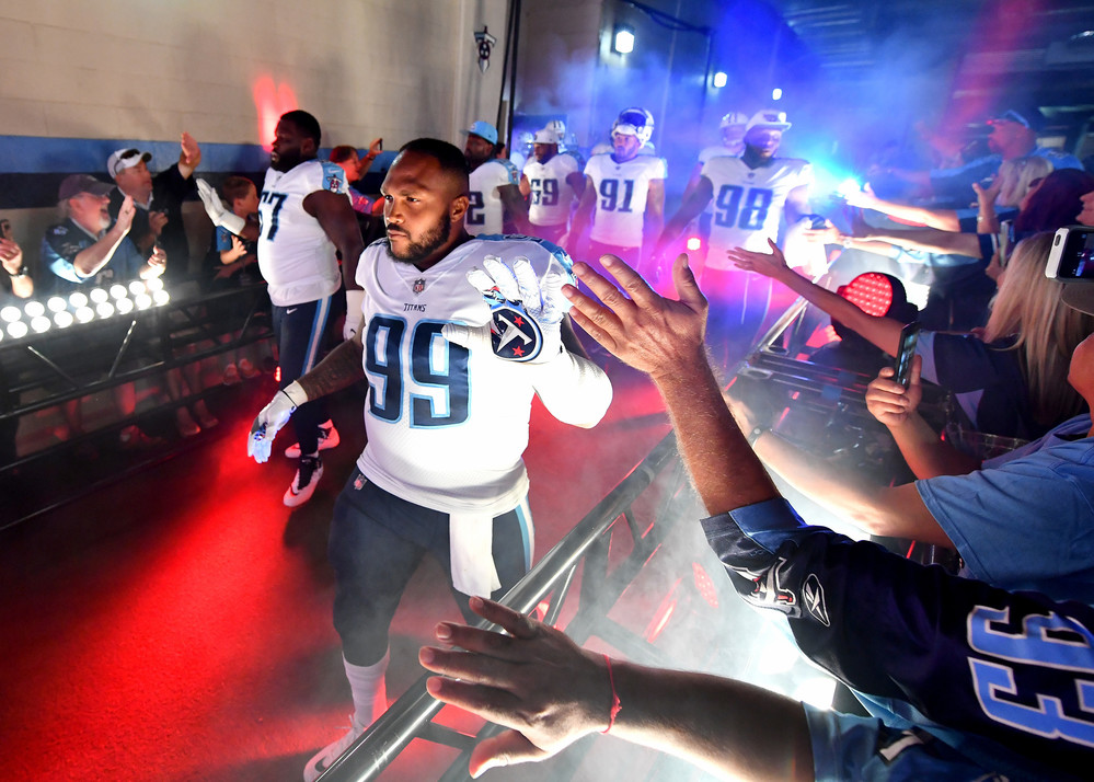 Titans defensive end Jurrell Casey (99) comes out of the tunnel at the start of the Oakland Raiders at Tennessee Titans NFL football game on Sept. 10, 2017, at Nissan Stadium in Nashville, Tenn.
