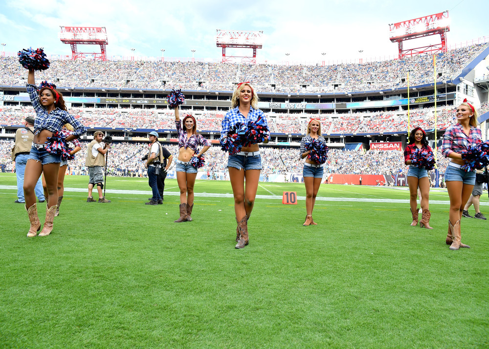 Titans cheerleaders perform during the second half of the Seattle Seahawks at Tennessee Titans NFL football game on Sept. 24, 2017, at Nissan Stadium in Nashville, Tenn. The Titans won 33-27. (Photo by Lee Walls / Walls Media)