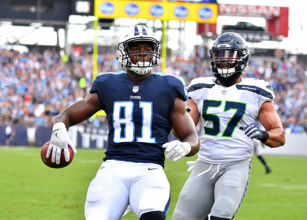 Tennessee Titans tight end Jonnu Smith (81) carries it in for a touchdown in the second half of the Seattle Seahawks at\ Titans NFL football game on Sept. 24, 2017, at Nissan Stadium in Nashville, Tenn. The Titans won 33-27. (Photo by Lee Walls / Walls Media)