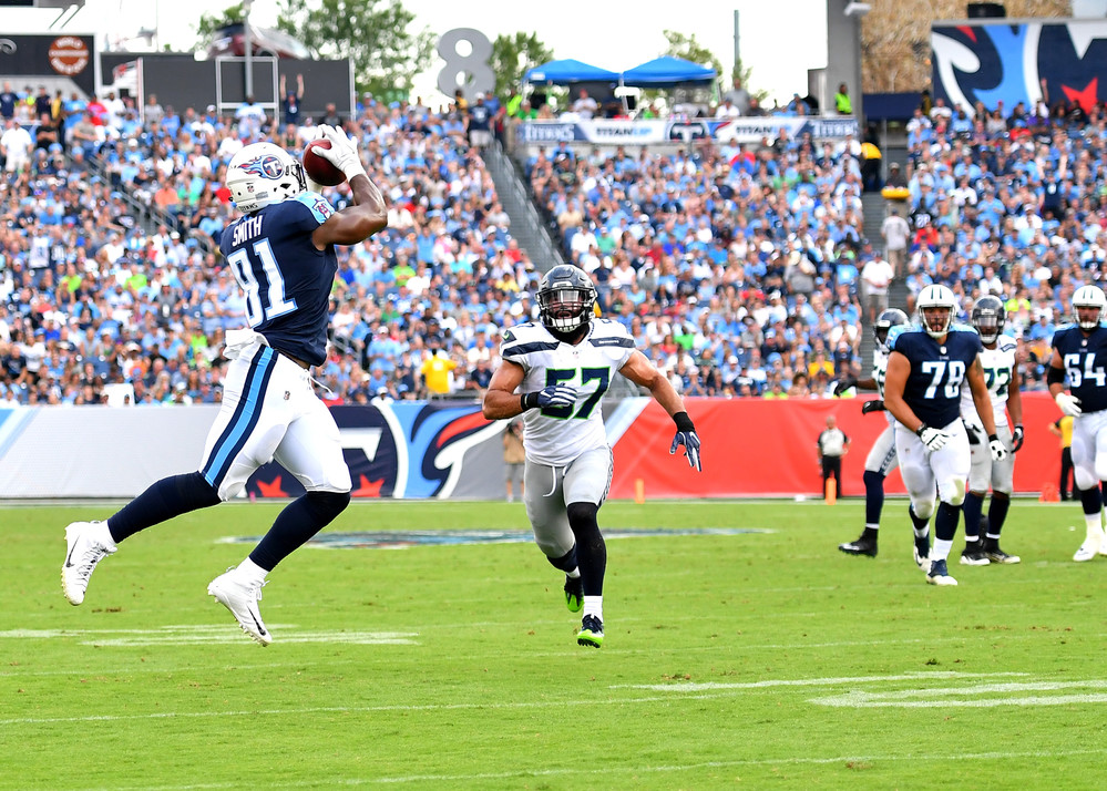 Titans tight end Jonnu Smith (81) makes a catch in the second half of the Seattle Seahawks at Tennessee Titans NFL football game on Sept. 24, 2017, at Nissan Stadium in Nashville, Tenn. The Titans won 33-27. (Photo by Lee Walls / Walls Media)