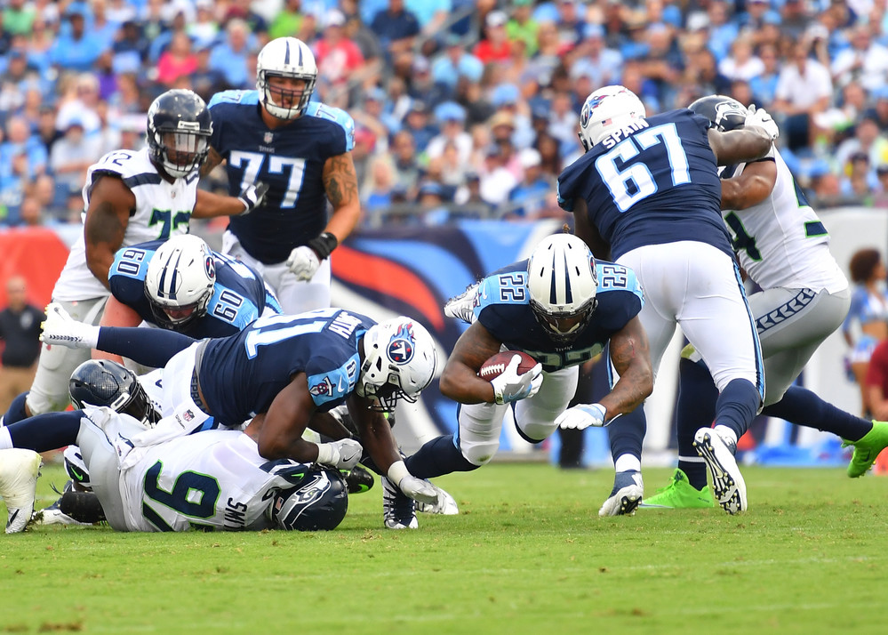 Tennessee Titans running back Derrick Henry (22) on a carry in the second half of the Seattle Seahawks at Titans NFL football game on Sept. 24, 2017, at Nissan Stadium in Nashville, Tenn. The Titans won 33-27. (Photo by Lee Walls / Walls Media)