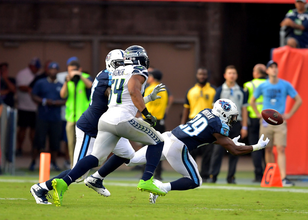 Tennessee Titans running back DeMarco Murray (29) can't quite hold onto a pass in the second half of the Seattle Seahawks at Titans NFL football game on Sept. 24, 2017, at Nissan Stadium in Nashville, Tenn. The Titans won 33-27. (Photo by Lee Walls / Walls Media)
