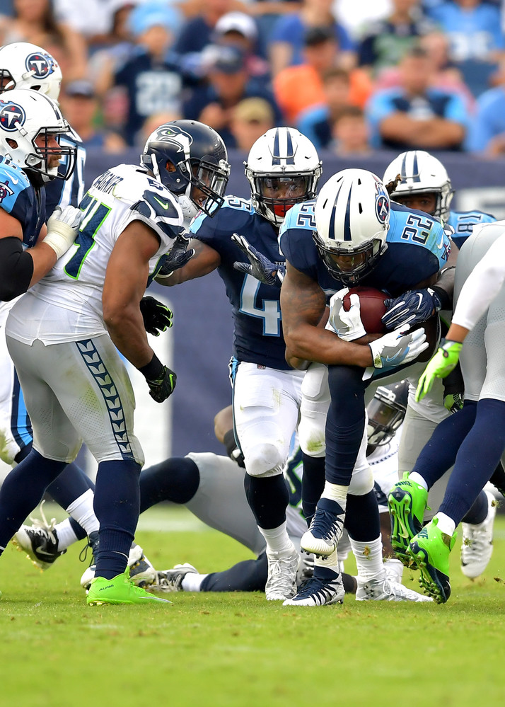 Tennessee Titans running back Derrick Henry (22) with a carry in the second half of the Seattle Seahawks at Titans NFL football game on Sept. 24, 2017, at Nissan Stadium in Nashville, Tenn. The Titans won 33-27. (Photo by Lee Walls / Walls Media)