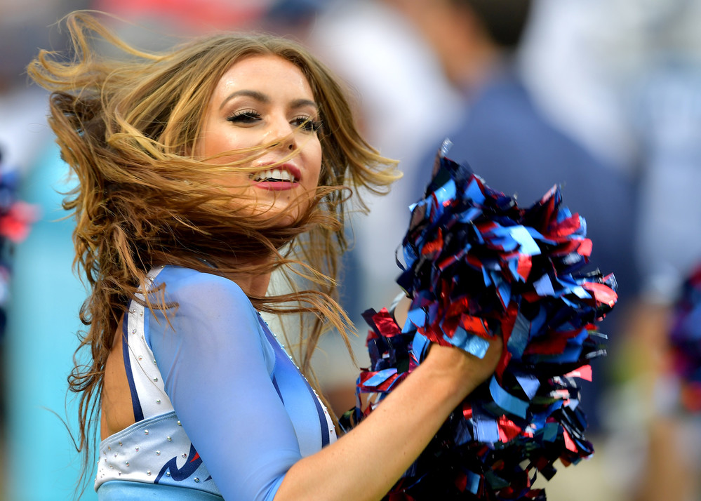 A Titans cheerleader performs during the second half of the Seattle Seahawks at Tennessee Titans NFL football game on Sept. 24, 2017, at Nissan Stadium in Nashville, Tenn. The Titans won 33-27. (Photo by Lee Walls / Walls Media)