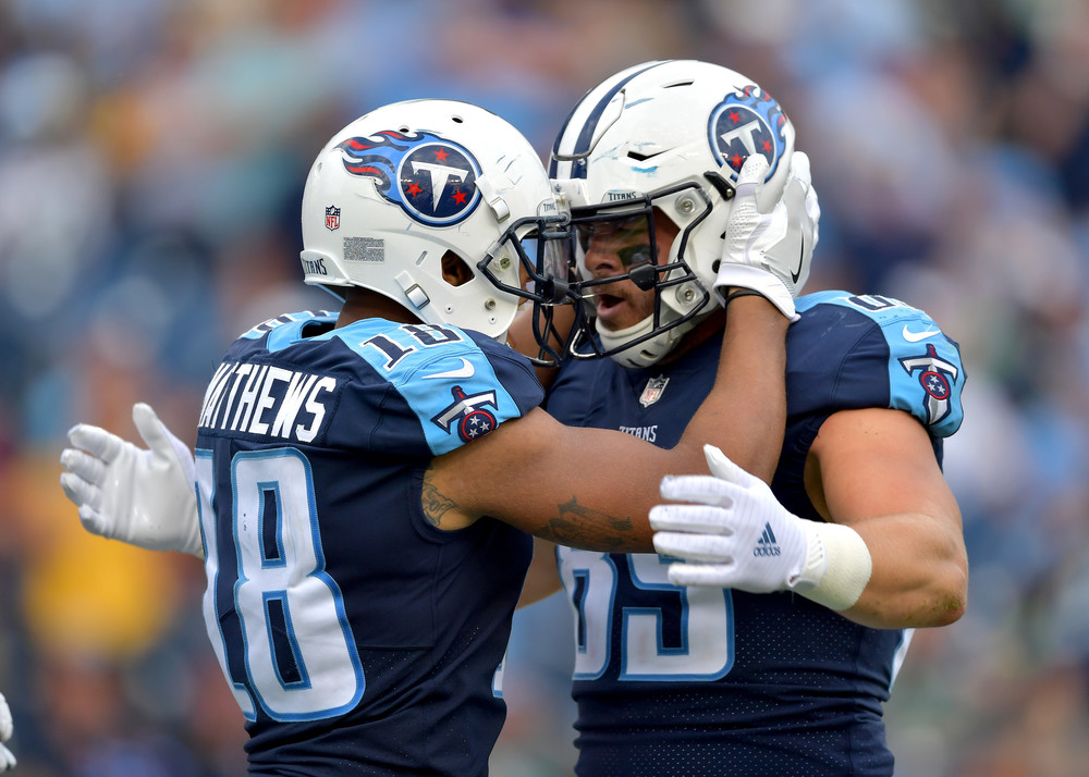Titans wide receiver Rishard Matthews (18) celebrates his touchdown in the second half of the Seattle Seahawks at Tennessee Titans NFL football game on Sept. 24, 2017, at Nissan Stadium in Nashville, Tenn. The Titans won 33-27. (Photo by Lee Walls / Walls Media)