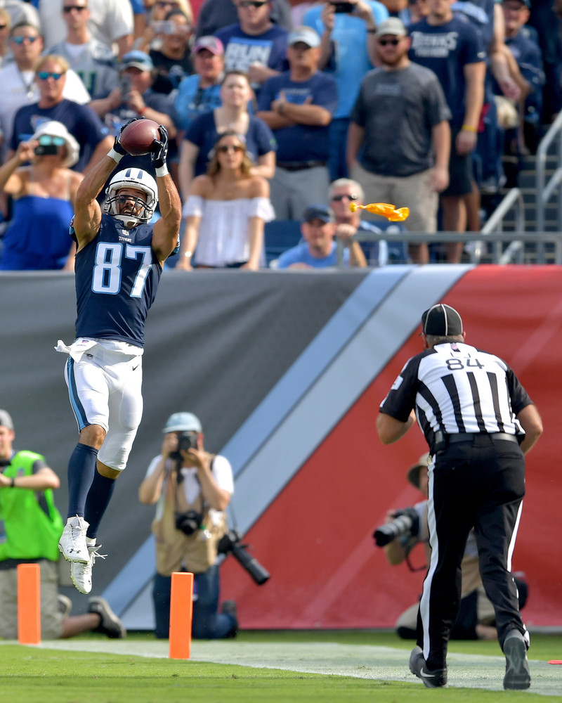 Tennessee Titans wide receiver Eric Decker (87) makes the catch but can't stay in bounds in the first half of the Seattle Seahawks at Titans NFL football game on Sept. 24, 2017, at Nissan Stadium in Nashville, Tenn. (Photo by Lee Walls)