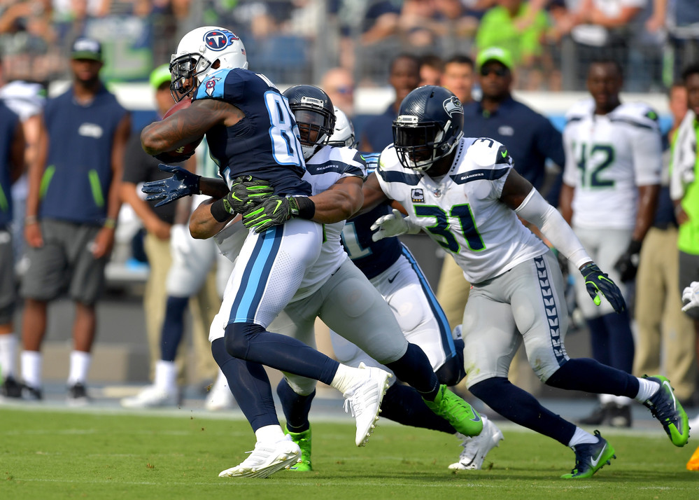Tennessee Titans tight end Delanie Walker (82) on a run in the first half of the Seattle Seahawks at Titans NFL football game on Sept. 24, 2017, at Nissan Stadium in Nashville, Tenn. (Photo by Lee Walls)