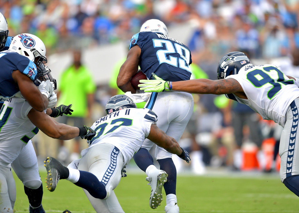 Titans running back DeMarco Murray (29) works his way upfield in the first half of the Seattle Seahawks at Tennessee Titans NFL football game on Sept. 24, 2017, at Nissan Stadium in Nashville, Tenn. (Photo by Lee Walls)