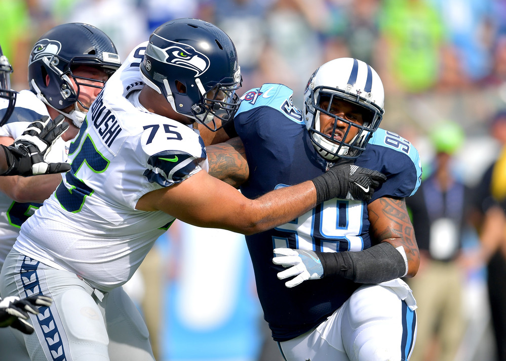 Defensive end Jurrell Casey (99) tangles it up in the first half of the Seattle Seahawks at Tennessee Titans NFL football game on Sept. 24, 2017, at Nissan Stadium in Nashville, Tenn. (Photo by Lee Walls)