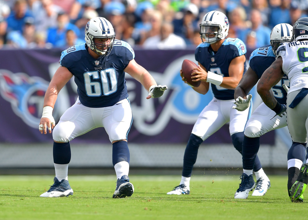 Titans center Ben Jones (60) protects quarterback Marcus Mariota (8) in the first half of the Seattle Seahawks at Tennessee Titans NFL football game on Sept. 24, 2017, at Nissan Stadium in Nashville, Tenn. (Photo by Lee Walls)