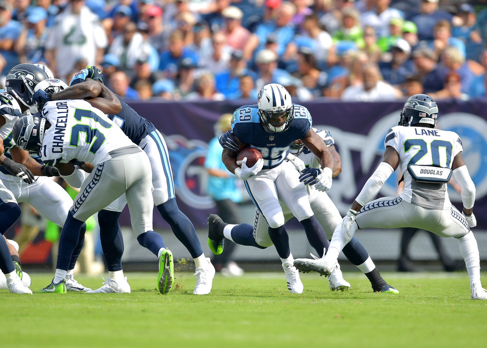 Tennessee Titans running back DeMarco Murray (29) with a carry through the line in the Seattle Seahawks at Titans NFL football game on Sept. 24, 2017, at Nissan Stadium in Nashville, Tenn. (Photo by Lee Walls)