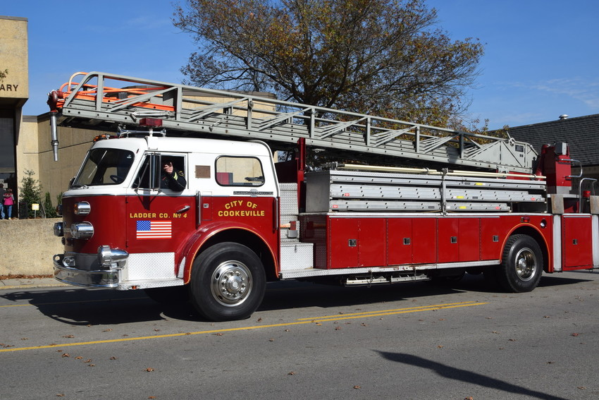 Cookeville Fire Chief Daryl Blair drives the fire department's 1970s ladder truck.