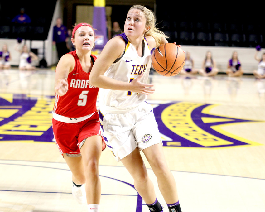 Tennessee Tech's Abby Buckner, right, makes her way to the basket during a recent game against Radford in the Hooper Eblen Center.