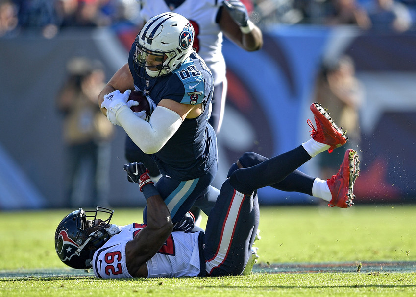 Tennessee Titans tight end Phillip Supernaw (89) adds yards after the catch in the first half of the NFL football game against the Houston Texans on Dec. 3, 2017, at Nissan Stadium in Nashville, Tenn. The Titans won 24-13. (Photo by Lee Walls)