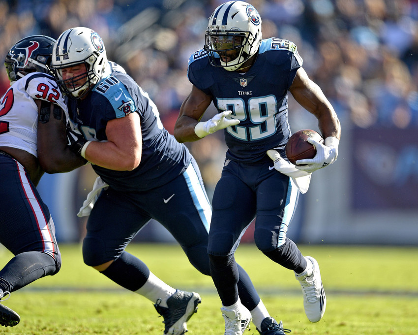 Tennessee Titans running back DeMarco Murray (29) with a carry in the first half of the NFL football game between the Titans and the Houston Texans on Dec. 3, 2017, at Nissan Stadium in Nashville, Tenn. (Photo by Lee Walls)