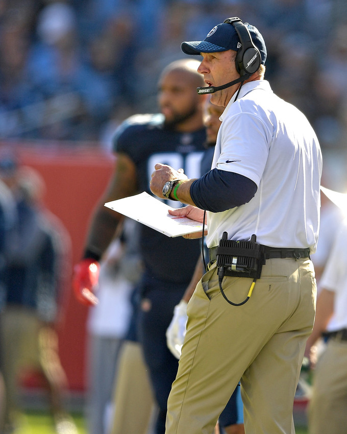 Tennessee Titans head coach Mike Malarkey is seen during the first half of the NFL football game between the Titans and the Houston Texans on Dec. 3, 2017, at Nissan Stadium in Nashville, Tenn. The Titans won 24-13. (Photo by Lee Walls)