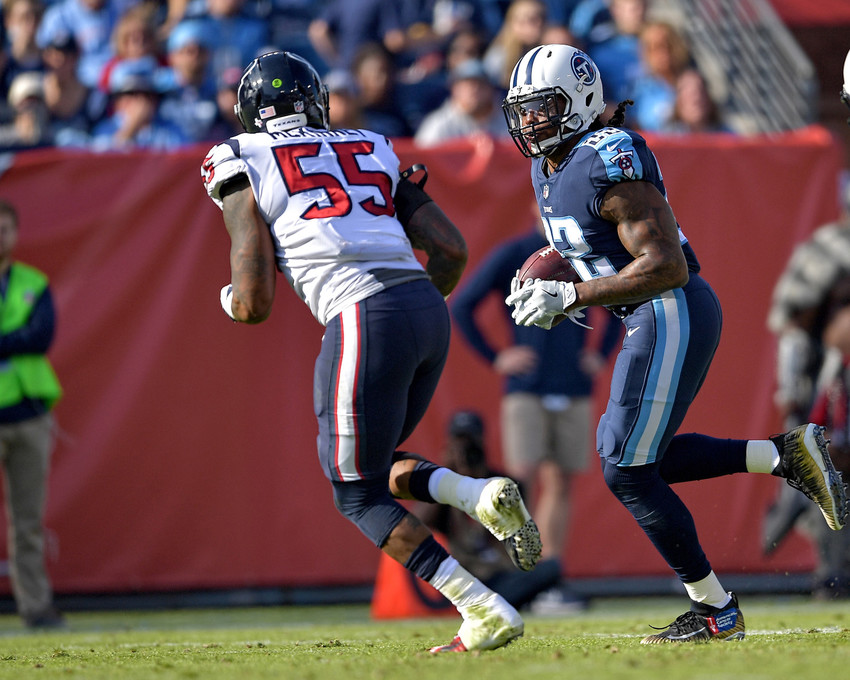 Tennessee Titans running back Derrick Henry (22) acts as a receiver in the first half of the NFL football game against the Houston Texans on Dec. 3, 2017, at Nissan Stadium in Nashville, Tenn. The Titans won 24-13. (Photo by Lee Walls)