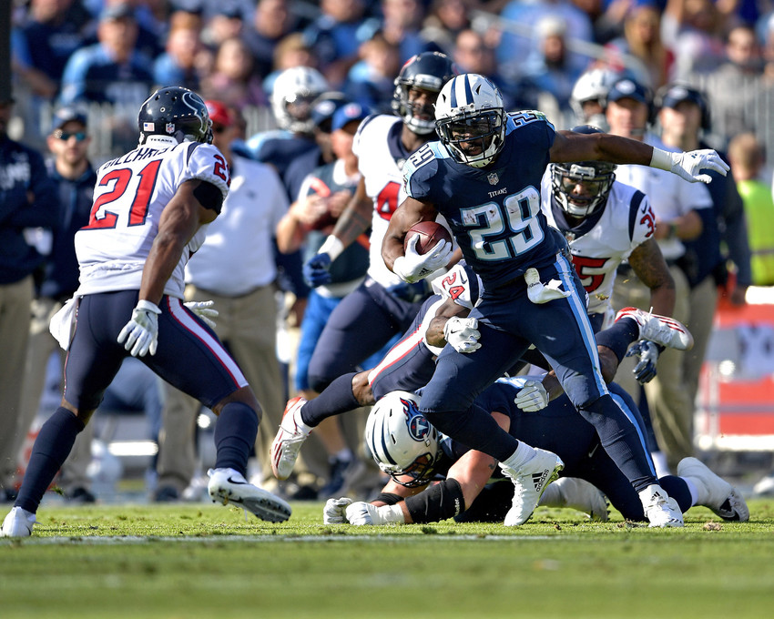 Tennessee Titans running back DeMarco Murray (29) on a carry in first half of the game against the Houston Texans on Dec. 3, 2017, at Nissan Stadium in Nashville, Tenn. The Titans won 24-13. (Photo by Lee Walls)