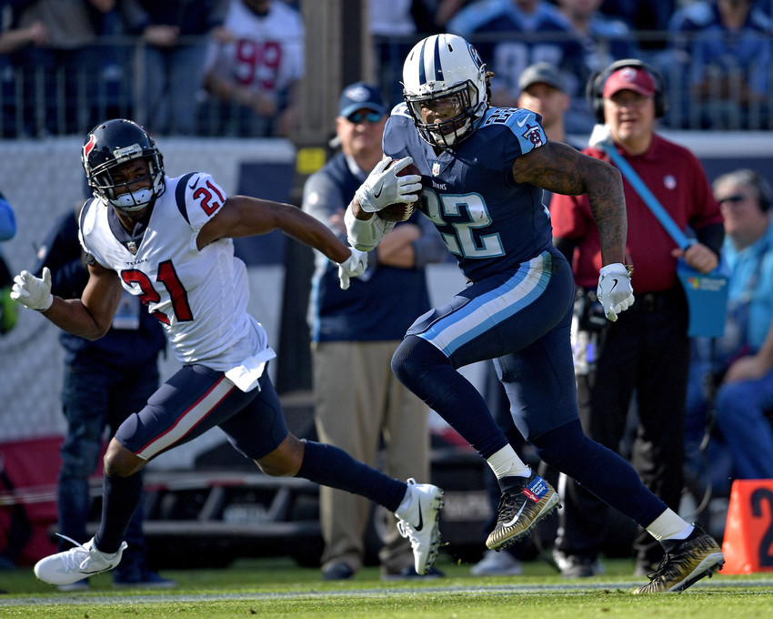 Tennessee Titans running back Derrick Henry (22) during the first half of the NFL football game between the Titans and the Houston Texans on Dec. 3, 2017, at Nissan Stadium in Nashville, Tenn. The Titans won 24-13. (Photo by Lee Walls)
