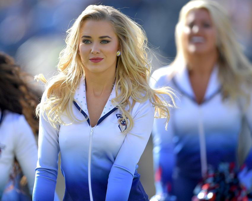 A Tennessee Titans Cheerleader performs during the first half of the NFL football game between the Tennessee Titans and the Houston Texans on Dec. 3, 2017, at Nissan Stadium in Nashville, Tenn. (Photo by Lee Walls)