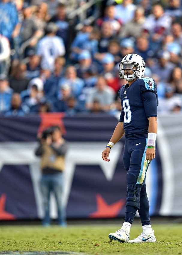 Tennessee Titans quarterback Marcus Mariota (8) is seen during the second half of the NFL football game against the Houston Texans on Dec. 3, 2017, at Nissan Stadium in Nashville, Tenn. The Titans won 24-13. (Photo by Lee Walls)