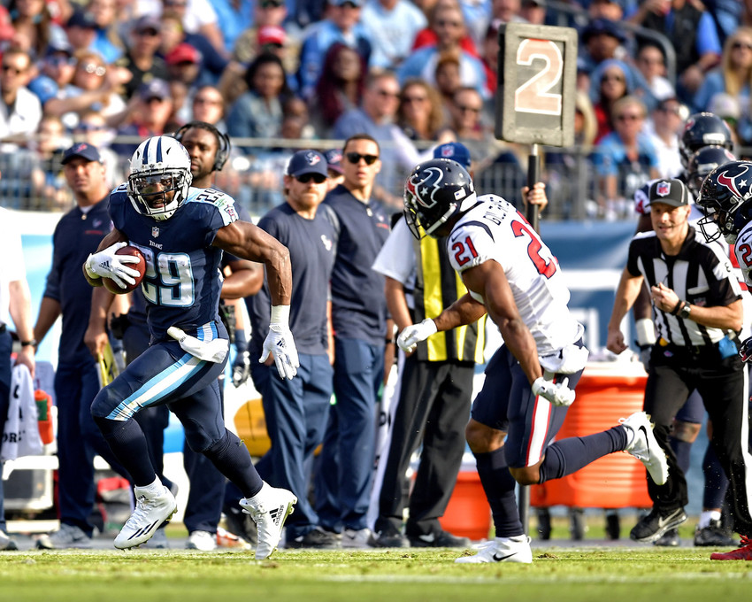 Tennessee Titans running back DeMarco Murray (29) with a carry in the second half against the Houston Texans on Dec. 3, 2017, at Nissan Stadium in Nashville, Tenn. The Titans won 24-13. (Photo by Lee Walls)