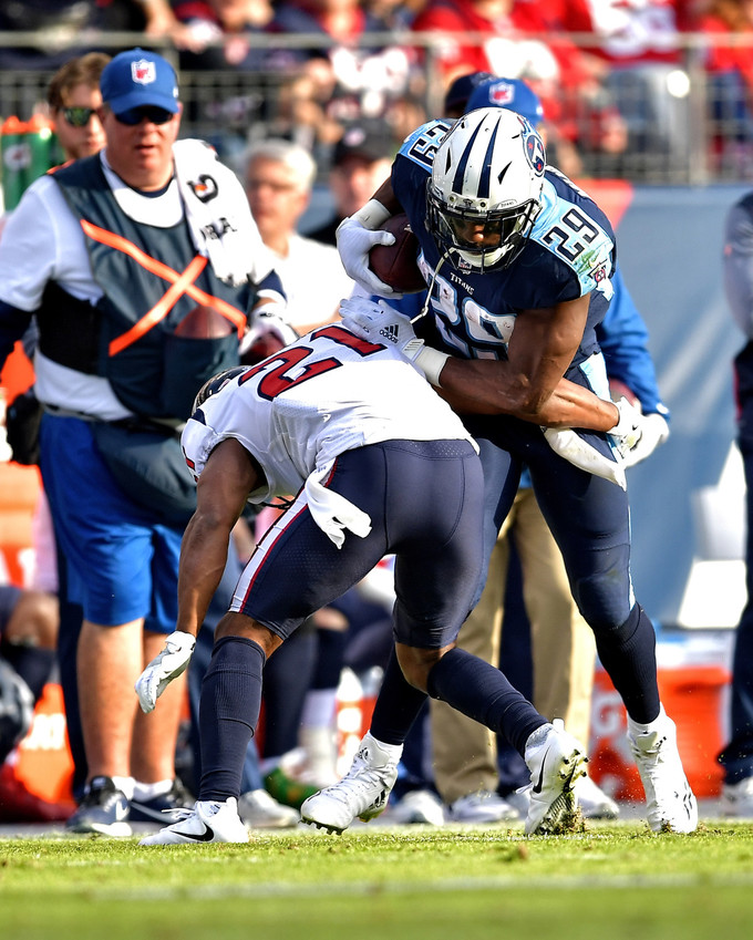 Tennessee Titans running back DeMarco Murray (29) is tackled after a long run in the second half against the Houston Texans on Dec. 3, 2017, at Nissan Stadium in Nashville, Tenn. The Titans won 24-13. (Photo by Lee Walls)
