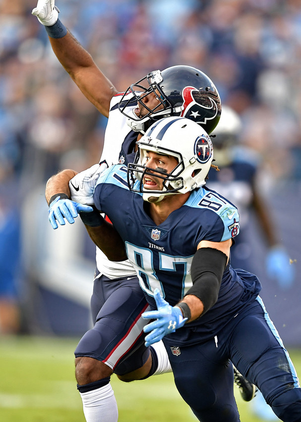 Tennessee Titans wide receiver Eric Decker (87) is grabbed from behind prior to an attempted reception, with no interference called, during the second half of the game against the Houston Texans on Dec. 3, 2017, at Nissan Stadium in Nashville, Tenn. The Titans won 24-13. (Photo by Lee Walls)