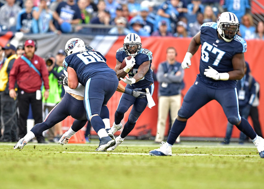 Tennessee Titans running back DeMarco Murray (29) on a carry in the second half of the NFL football game between the Titans and the Houston Texans on Dec. 3, 2017, at Nissan Stadium in Nashville, Tenn. The Titans won 24-13. (Photo by Lee Walls)