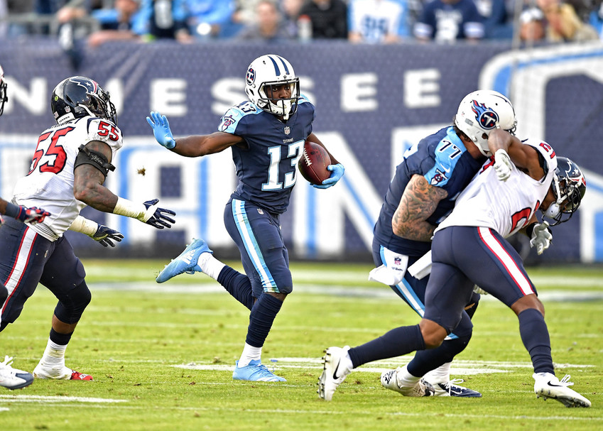 Tennessee Titans wide receiver Taywan Taylor (13) on a run during the second half of the NFL football game between the Titans and the Houston Texans on Dec. 3, 2017, at Nissan Stadium in Nashville, Tenn. The Titans won 24-13. (Photo by Lee Walls)