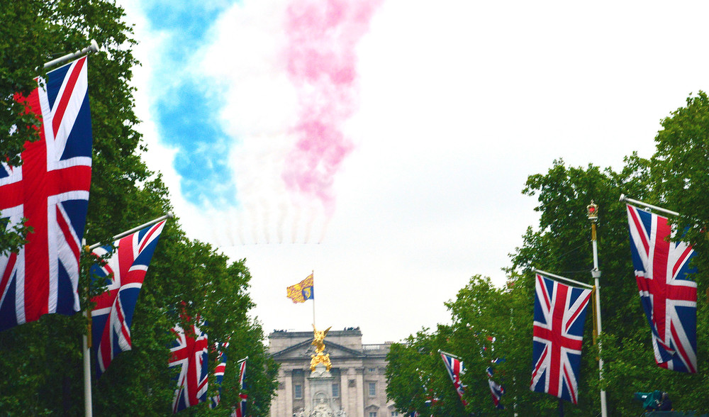An air show fills the sky over Buckingham Palace after the Trooping of Colours in London.