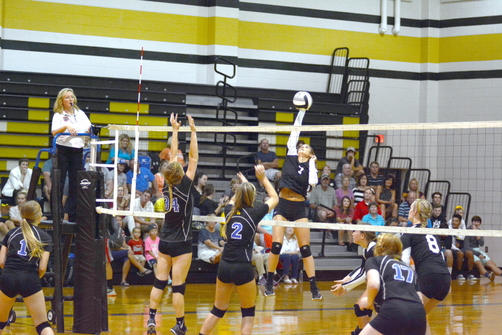 Upperman High School's Taylor Maxwell slams the ball down during the ...