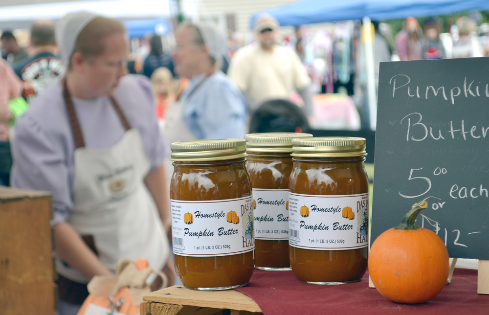 Jars of homestyle pumpkin butter await customers during Saturday's Allardt Great Pumpkin Festival, a major annual event in rural Fentress County.