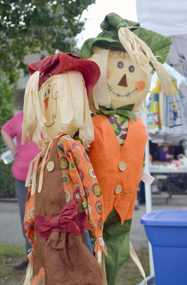 These festive scarecrows were among the many crafts offered by vendors during the Allardt Great Pumpkin Festival.