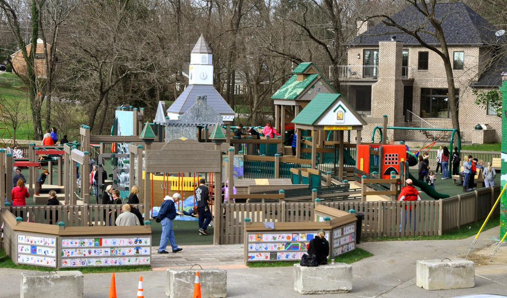 Cookeville's Heart of the City playground at Dogwood Park backs up to a home owned by Woody Welch, who filed an inverse condemnation petition against the city of Cookeville on Tuesday.