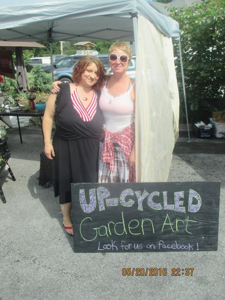 Friends Lisa Braun and Samantha Hawkins create miniature gardens together using local plants and recycled materials.