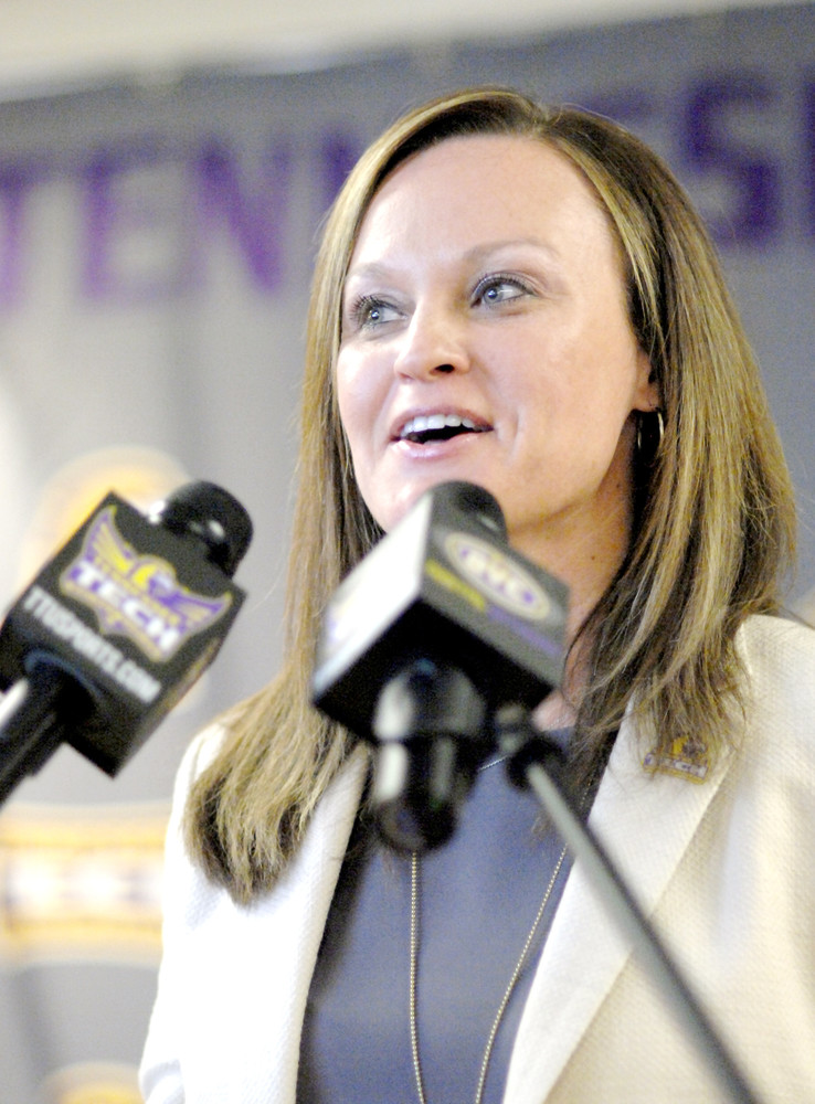 In this 2016 photo, Tennessee Tech head women's basketball coach Kim Rosamond addresses the audience during a press conference at the Eblen Center.