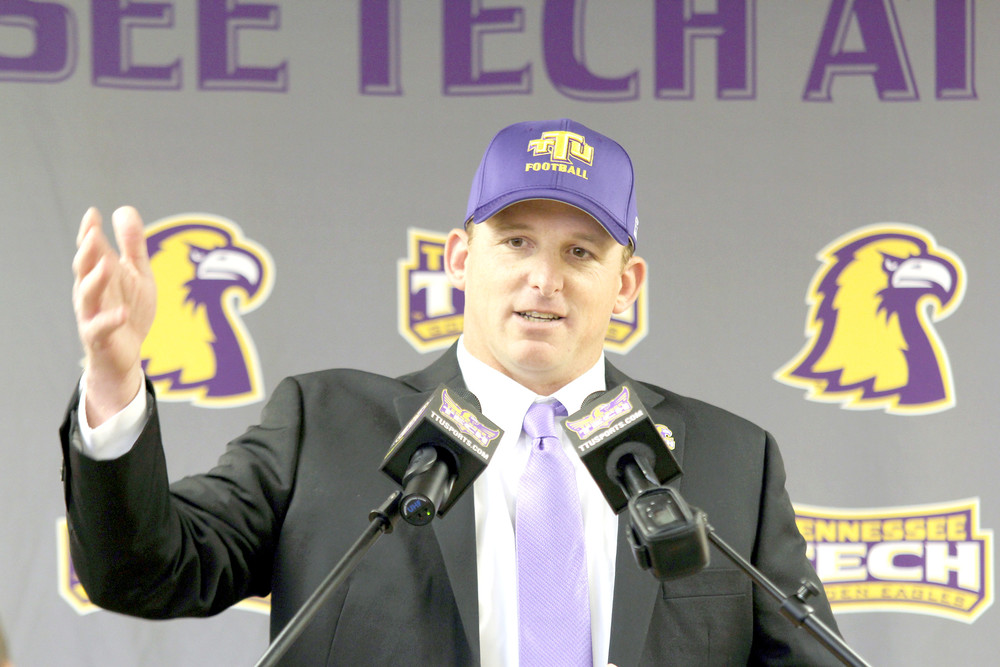 In this 2016 photo, Tennessee Tech head football coach Marcus Satterfield addresses the audience during a press conference at the Eblen Center.
