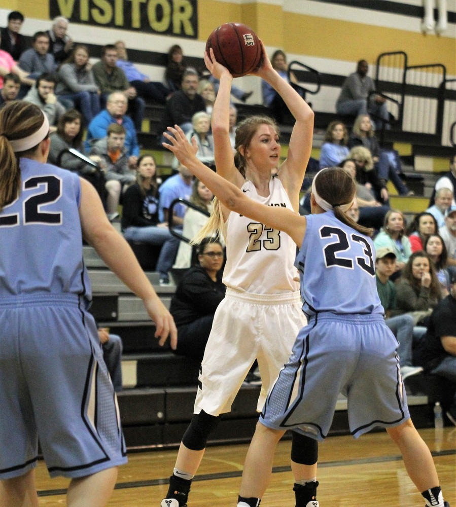Upperman High School's Abby Greenwood looks for a teammate during the Lady Bees' game with McMinn Central. Upperman was ranked No. 1 in Class 2A in the latest AP poll.
