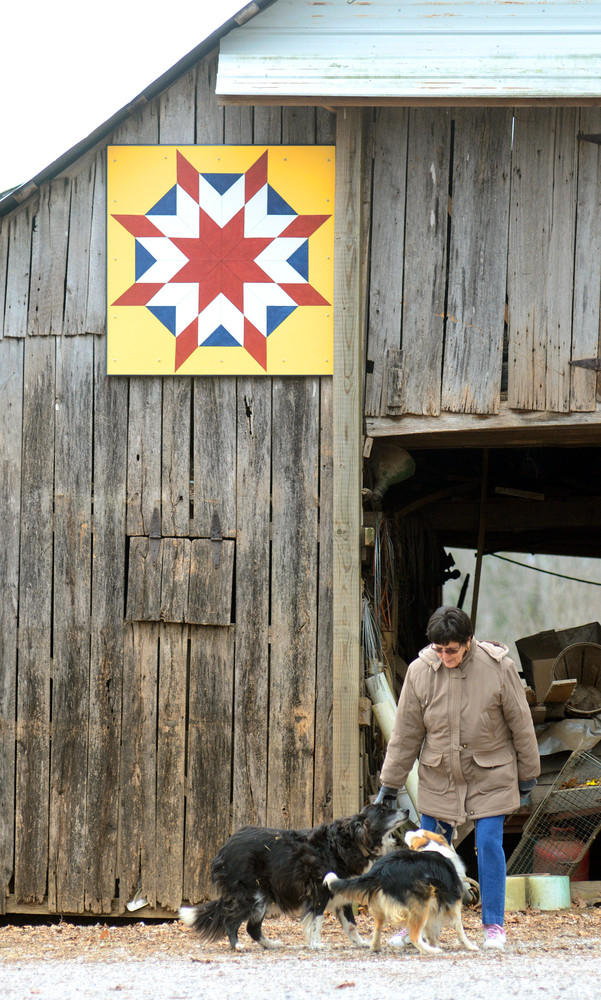 Connie Banker plays with her dogs, Pete and Sadie, in front of the quilt square on her barn in Silver Point.