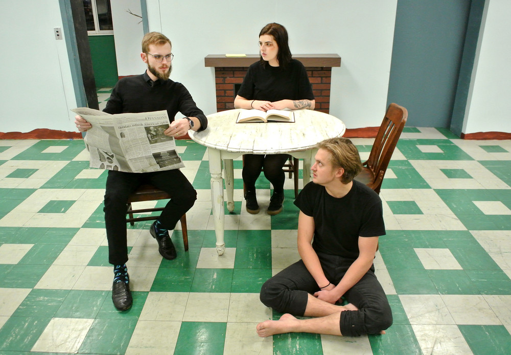 "From left, Henry (James Alder), Mae (Rachel Mayes) and Lloyd (Christian Bare) discuss their uncomfortable living arrangements in ""Mud.""."
