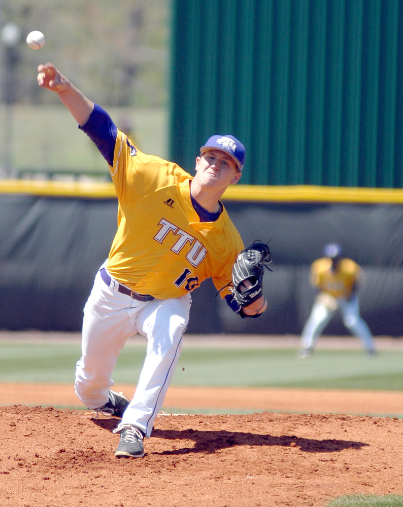 In this 2016 photo, Tennessee Tech pitcher Chase Burkett delivers a pitch during a game against Jacksonville State at TTU. The Golden Eagles start their season Friday against Toledo.