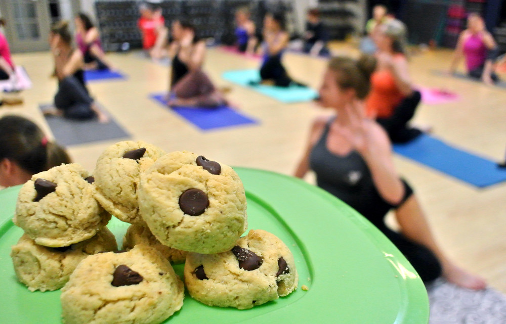Some of Kendra Scribner's creations are tested on her yoga students at the YMCA. Ty Kernea | Herald-Citizen