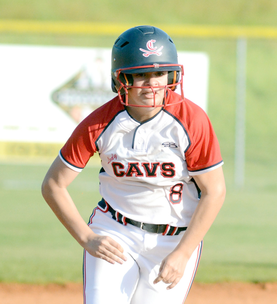 Cookeville's Morgan Radford makes a break for third base during the Lady Cavs District 6-AAA championship game against Rhea County in May of 2016.