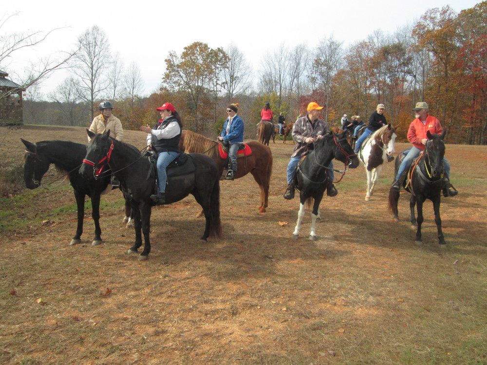 Members of the Upper Cumberland Horseback Riders Club from left Joyce Watson, Patricia Bussell, Linda Wood, Buddy Bartlett, Melanie Beckwith and Bill Underwood enjoy a ride.