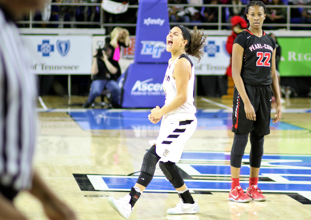 Upperman High School junior Akira Levy screams for joy after the Lady Bees beat Pearl-Cohn in the Class 2A state championship game earlier this month in Murfreesboro. Levy, who was named 2017's Miss Basketball, joins teammate Abby Greenwood on this year's all-state team.