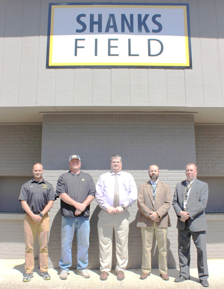 The baseball field at the old Upperman High School in Baxter was recently renamed in honor of former UHS coach Wayne Shanks. Pictured above are, from left: Todd Clinton, Upperman Middle School baseball coach; Brian Johnson, Upperman High School baseball coach; Greg Wilson, Upperman High School athletic director; Shannon Pirtle, Upperman Middle School athletic director; and Billy Stepp, principal at Upperman middle and high schools.